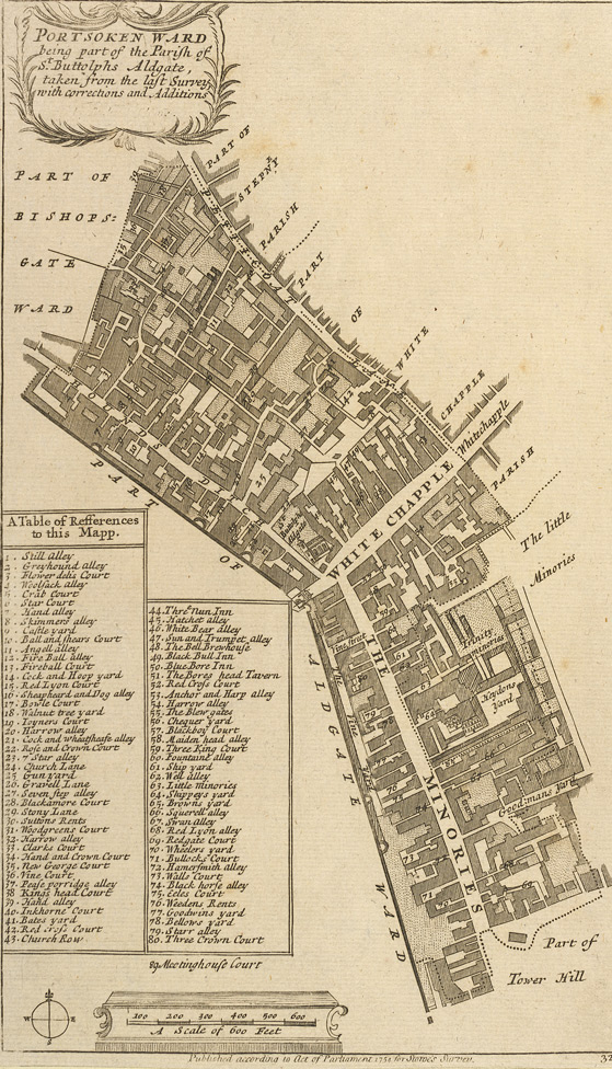Portsoken ward being part of the parish of St Buttolphs Aldgate, taken from the last survey, with corrections and additions (1754)